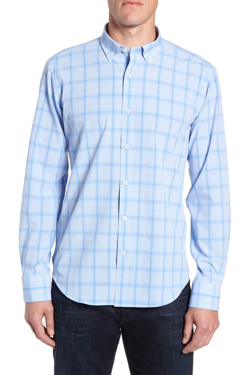 BUGATCHI Shaped Fit Glen Plaid Sport Shirt, Main, color, 459
