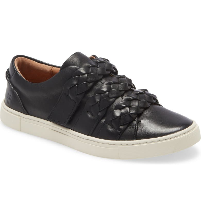 FRYE Ivy Braid Strap Sneaker, Main, color, BLACK LEATHER