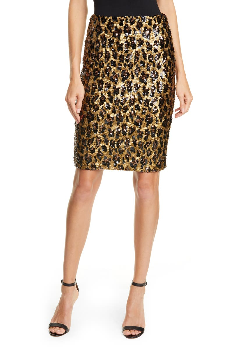 ALICE + OLIVIA Ramos Leopard Sequin Pencil Skirt, Main, color, LEOPARD