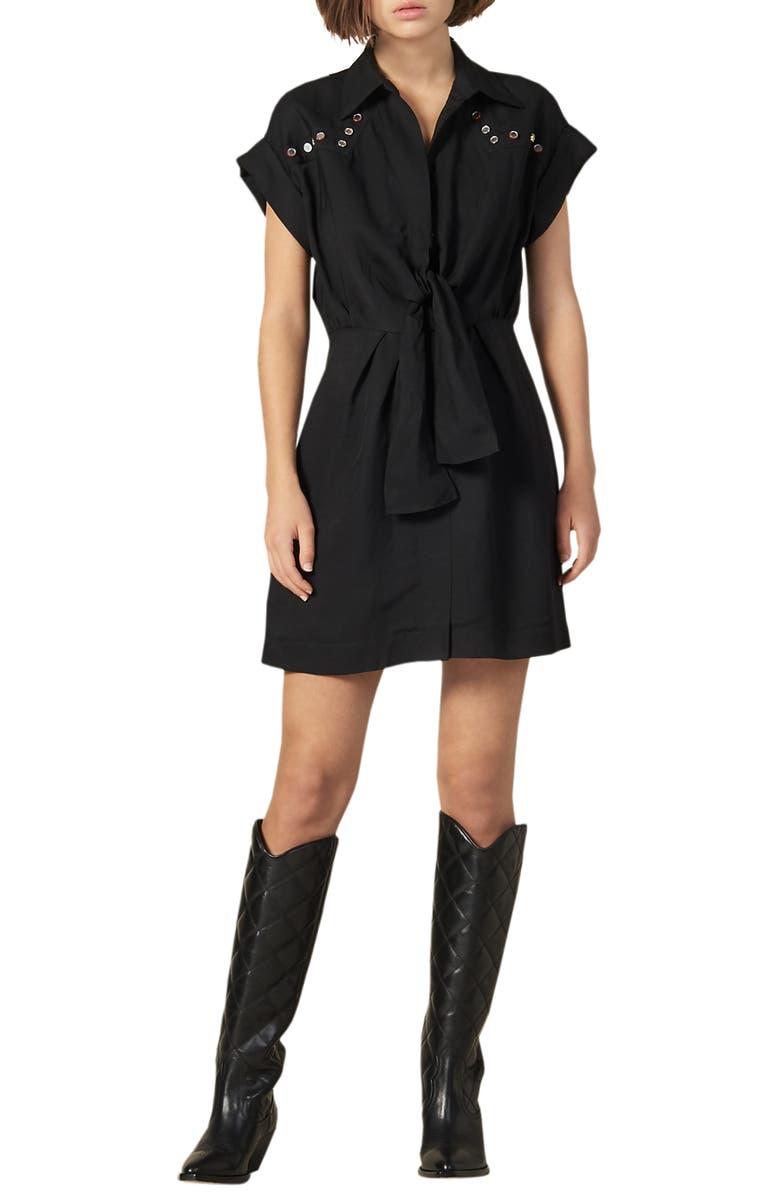 SANDRO Mavel Stud Detail Shirtdress, Main, color, 001