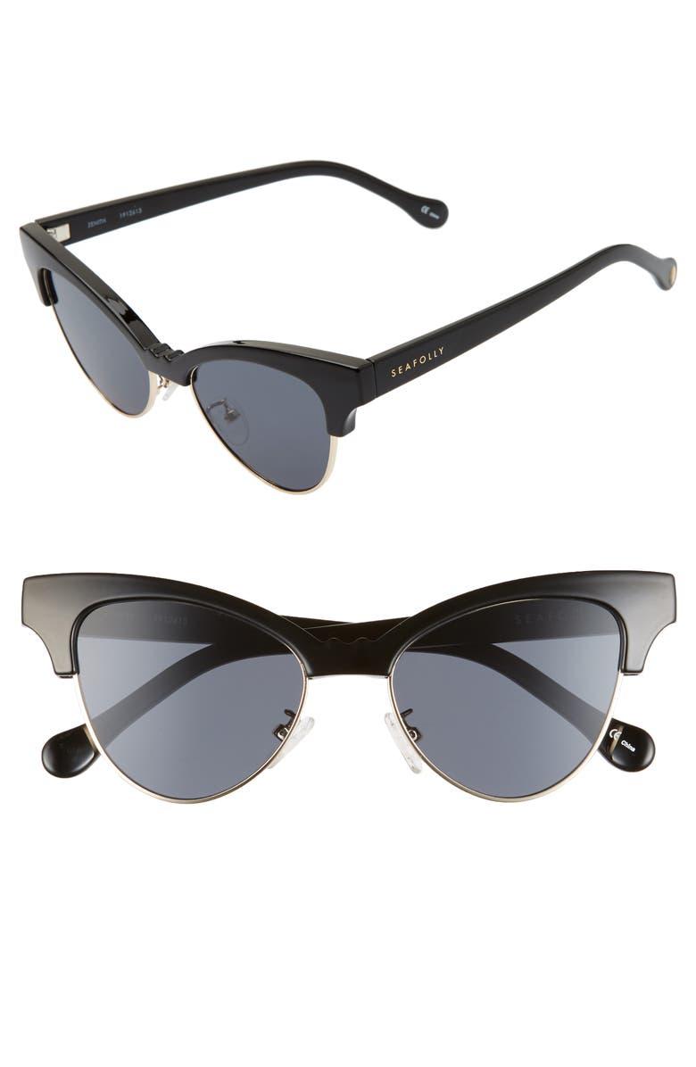 SEAFOLLY Zenith 50mm Cat Eye Sunglasses, Main, color, BLACK/ SMOKE