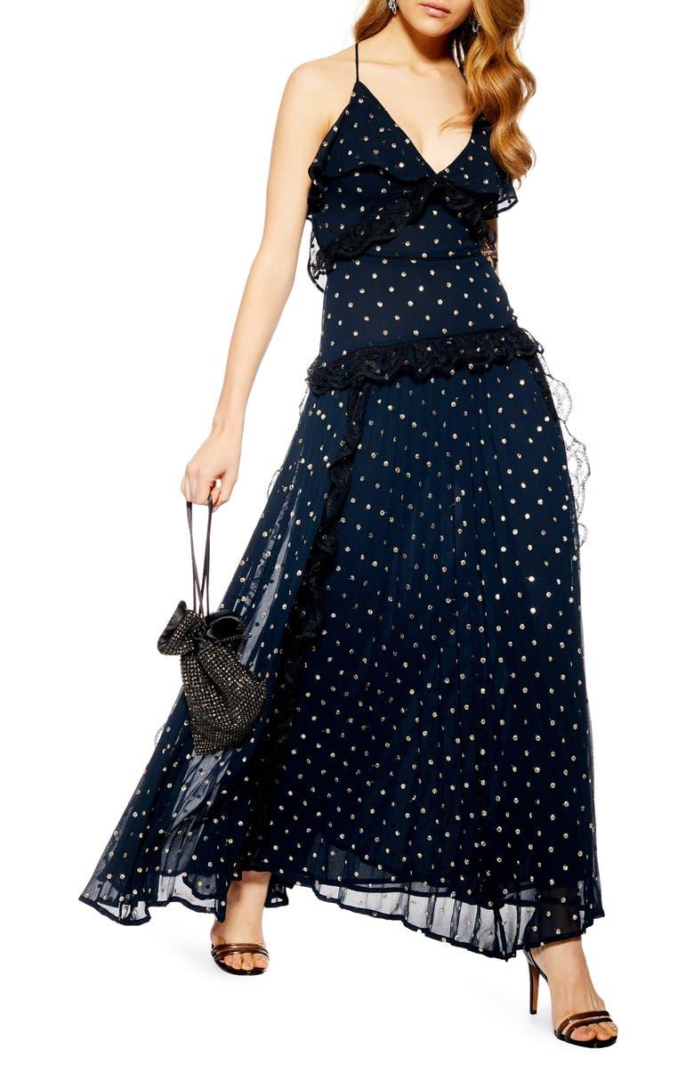 TOPSHOP Lace Metallic Dot Maxi Dress, Main, color, 411