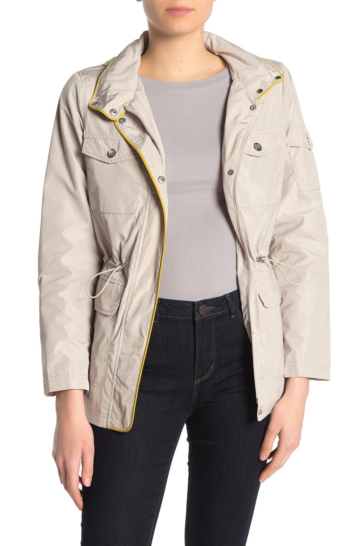 Image of Vince Camuto Cinched Waist Rain Coat