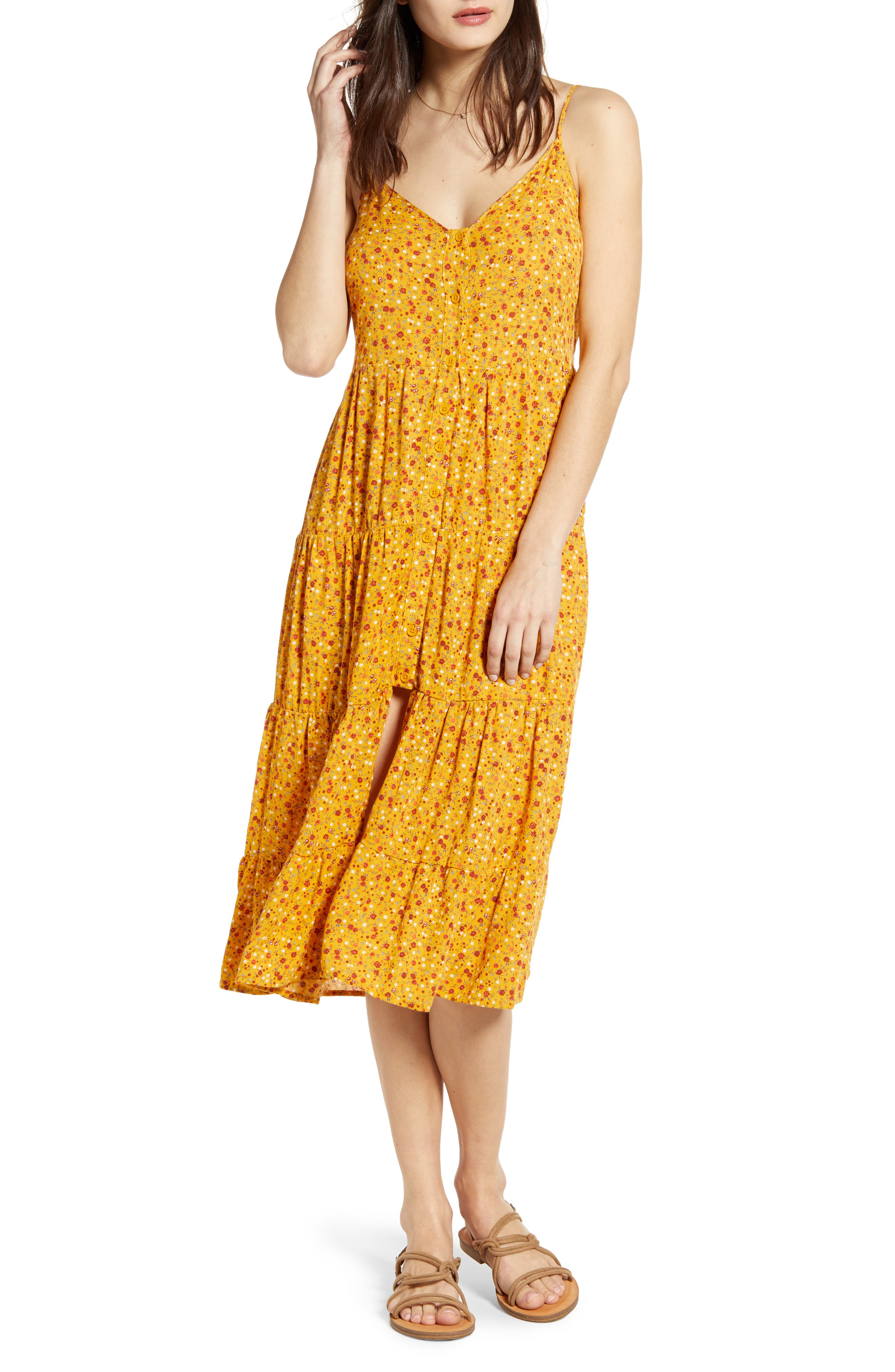 Band Of Gypsies Floral Print Slit Front Tiered Midi Dress, Yellow