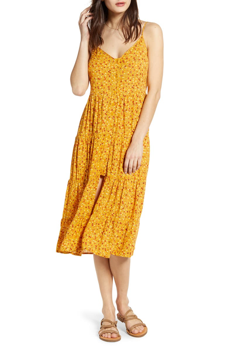 BAND OF GYPSIES Floral Print Slit Front Tiered Midi Dress, Main, color, MUSTARD/ ORANGE
