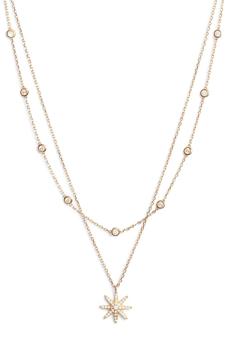 STERLING FOREVER Burst Layered Necklace, Main, color, GOLD