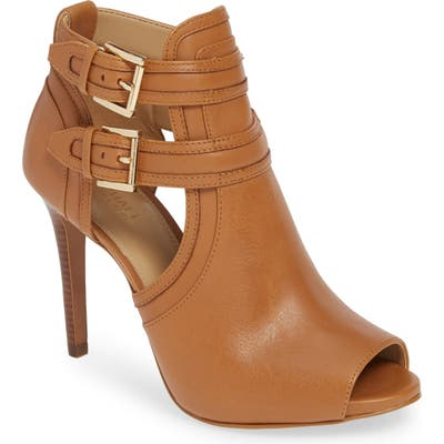 Michael Michael Kors Blaze Peep Toe Buckle Bootie, Brown