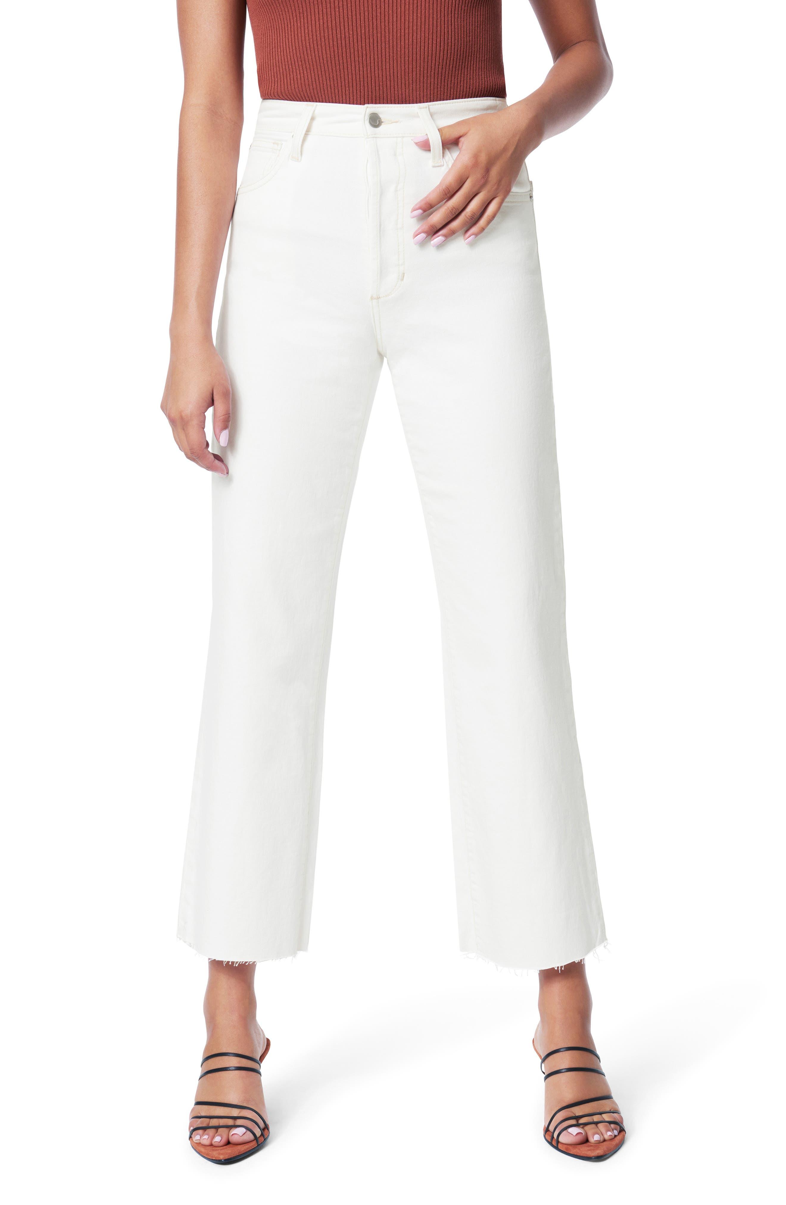 Women's Joe's The Blake High Waist Raw Hem Crop Wide Leg Jeans,  28 - White