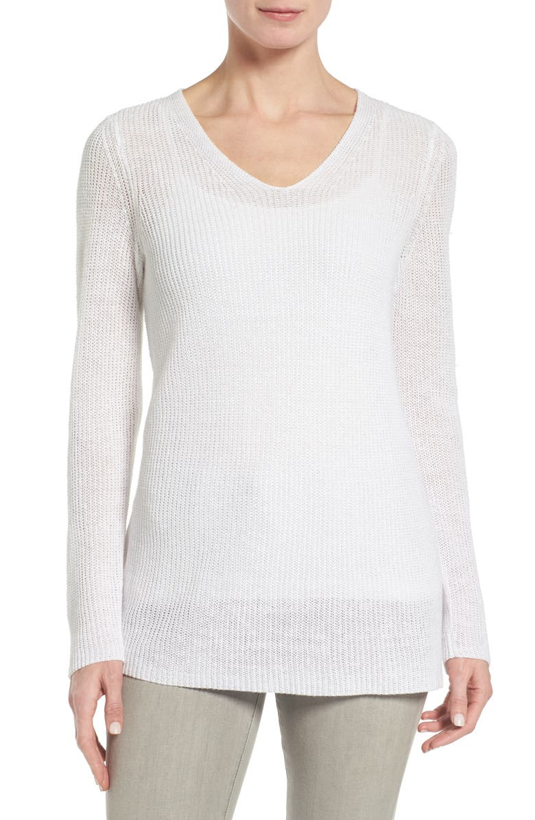 EILEEN FISHER V-Neck Organic Linen Sweater, Main, color, 100