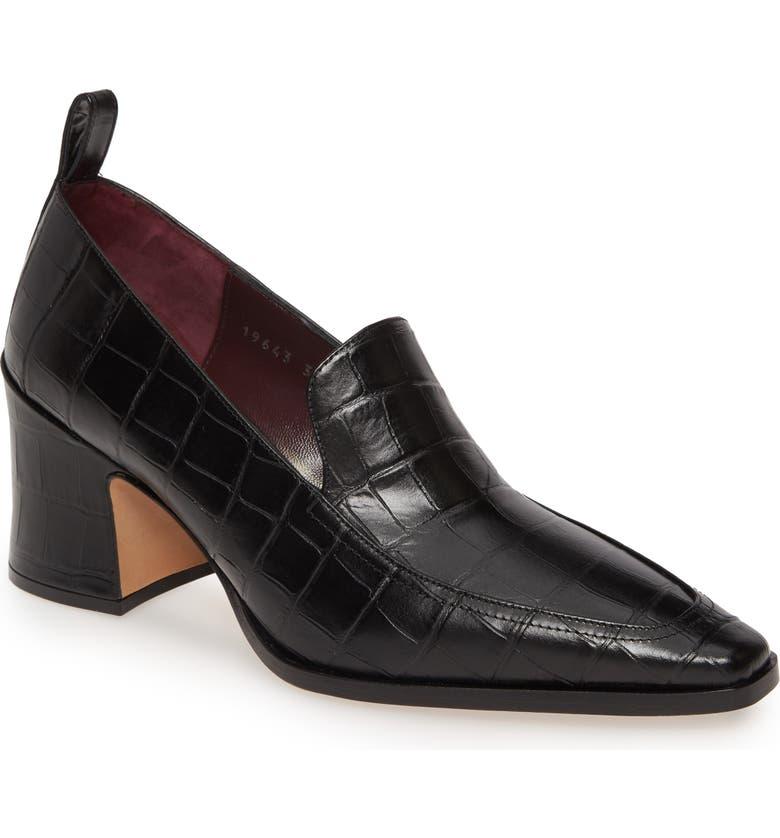 DRIES VAN NOTEN Block Heel Loafer Pump, Main, color, BLACK CROC PRINT
