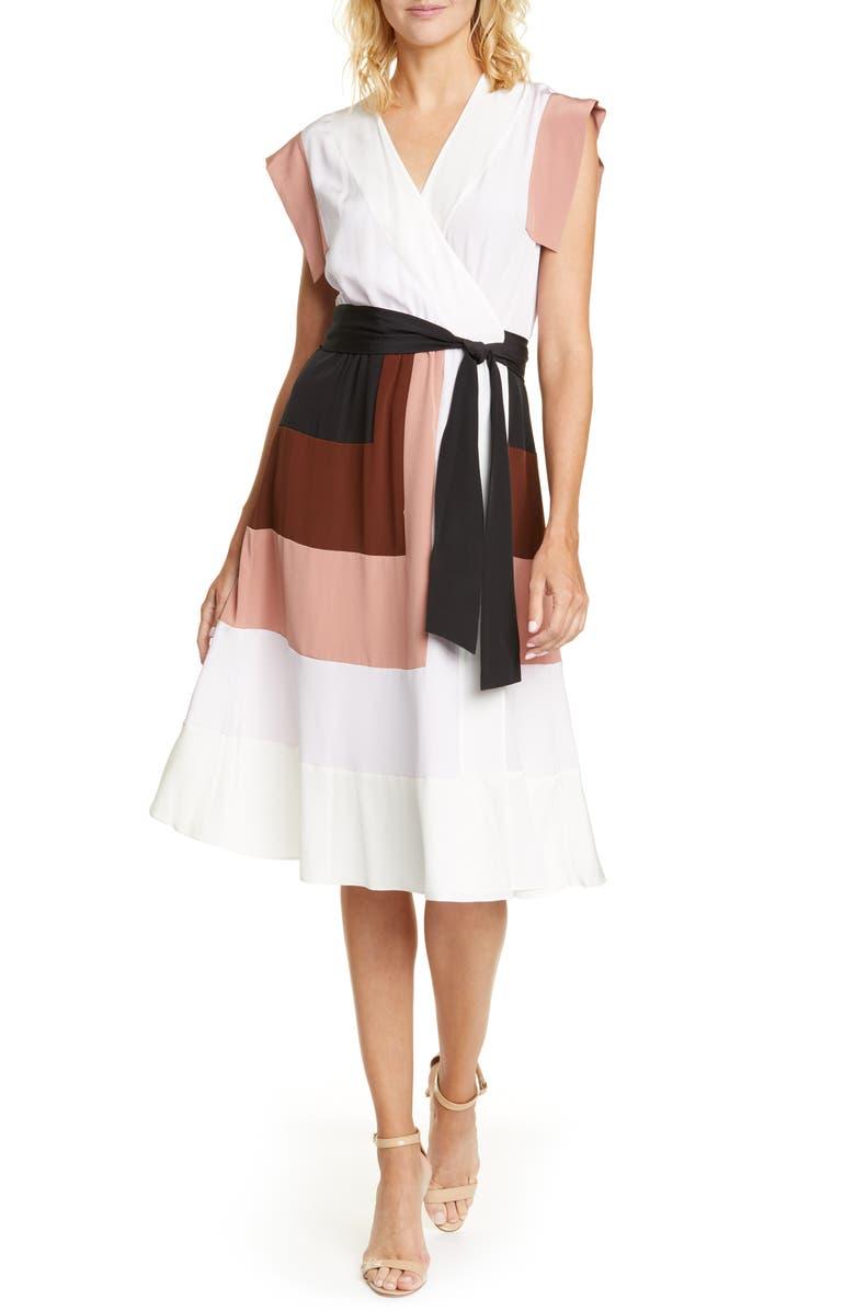 DVF Ingrid Colorblock Silk Wrap Dress, Main, color, BURLWOOD MULTI