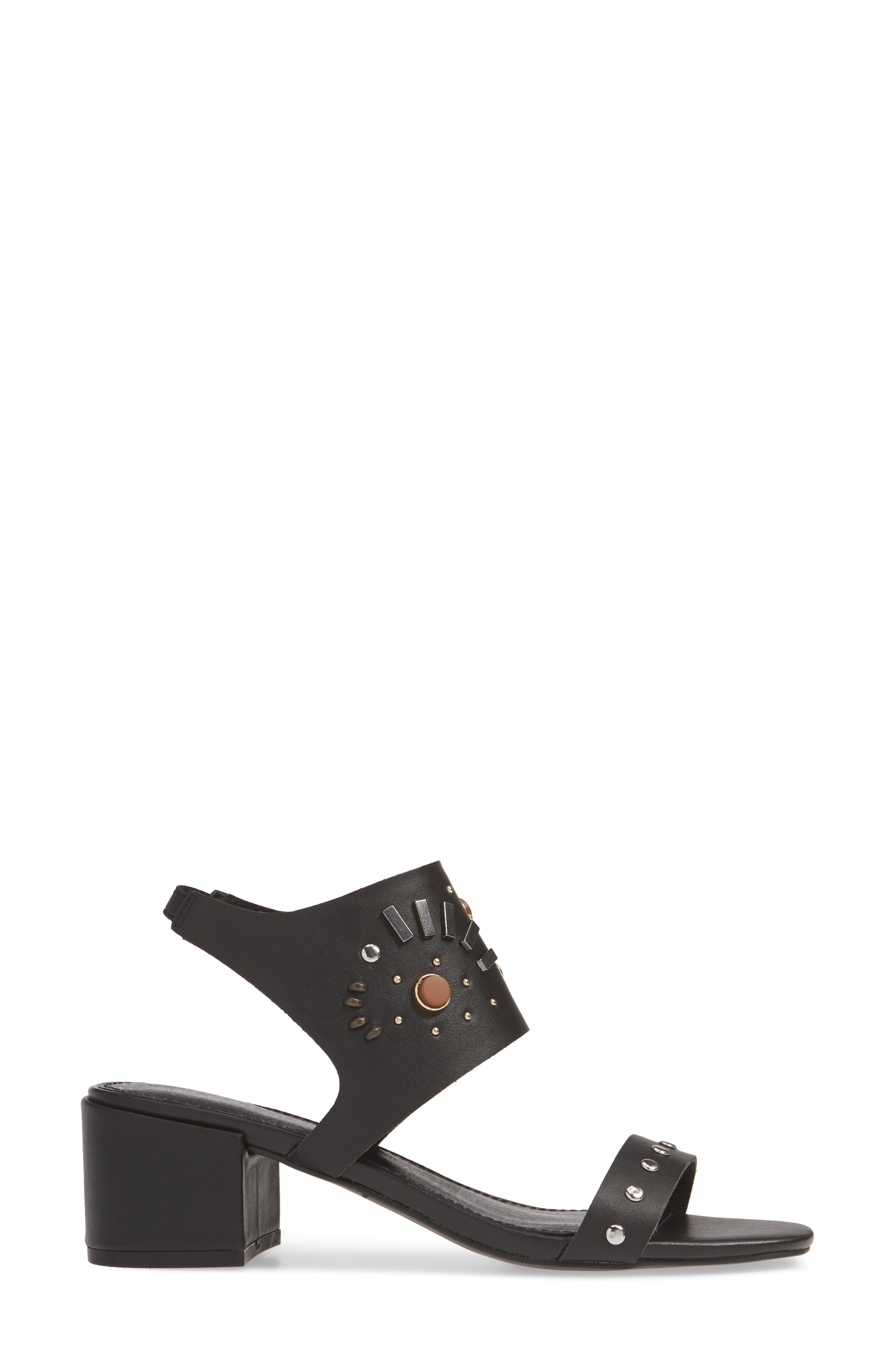 ,                             Studded Sandal,                             Alternate thumbnail 3, color,                             BLACK