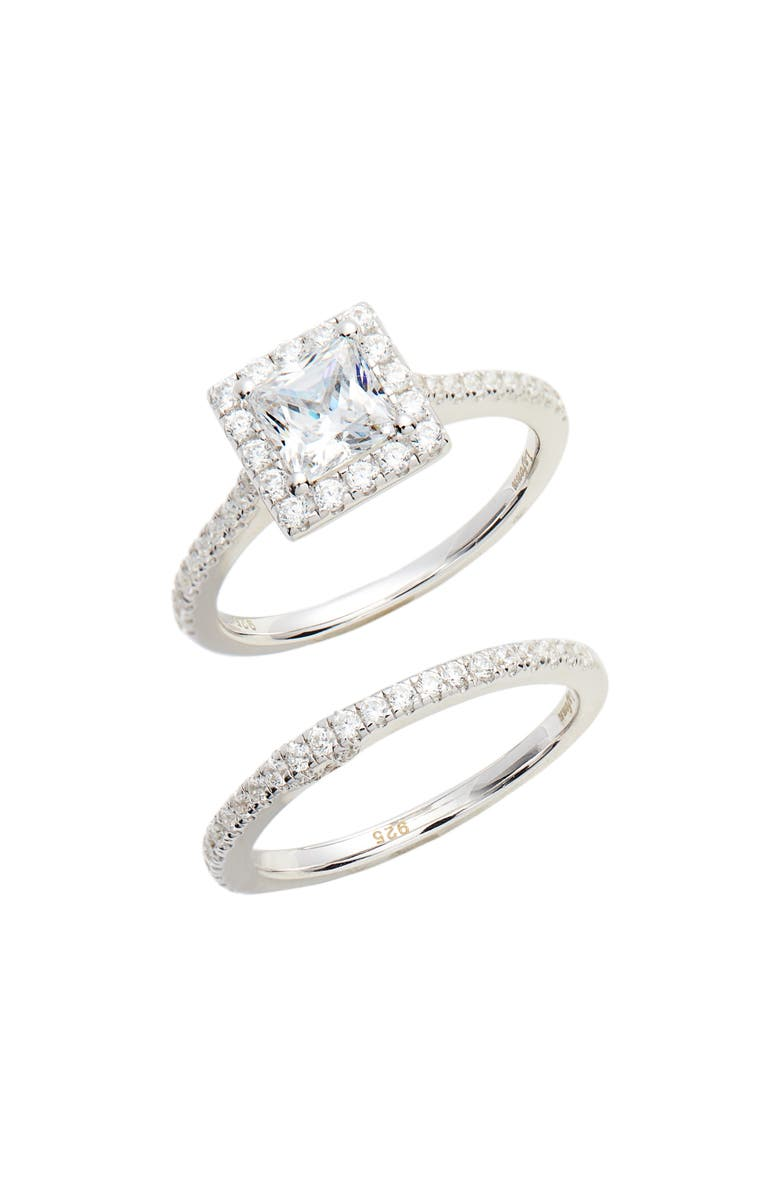 LAFONN Joined at the Heart Cushion Cut Halo Wedding Ring Set, Main, color, SILVER/ CLEAR