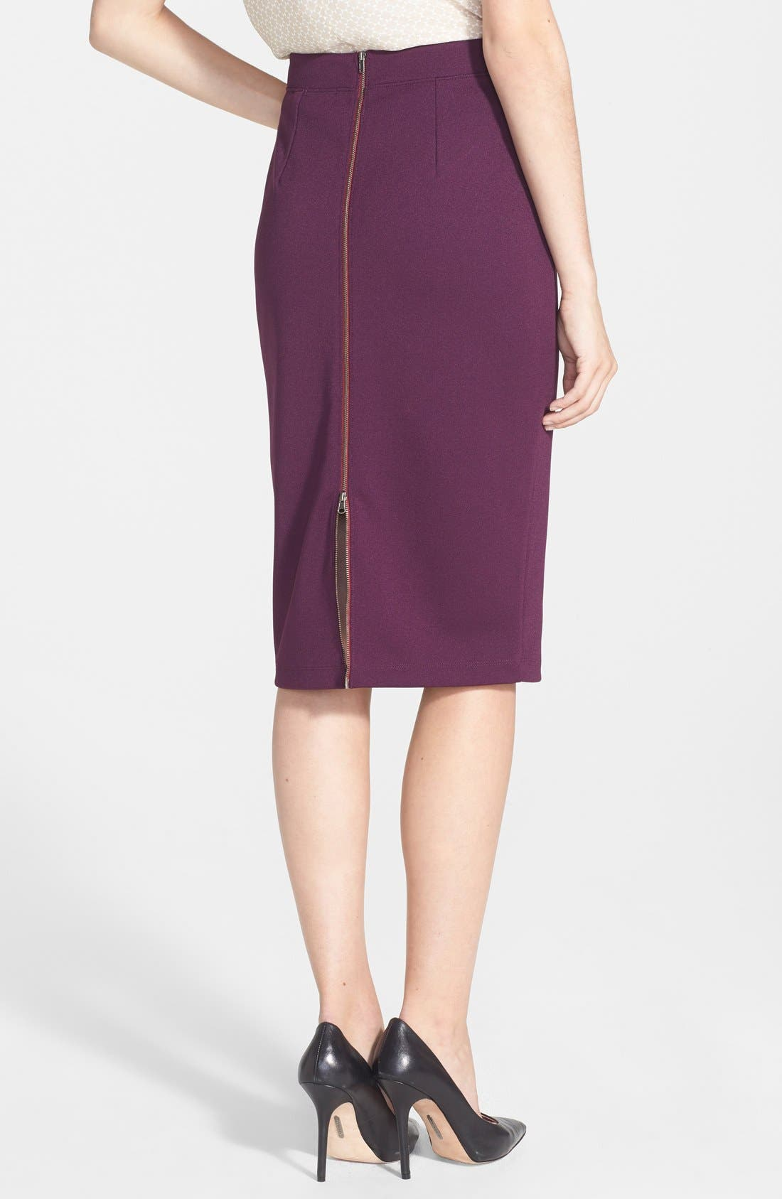 ,                             Zip Back Knit Pencil Skirt,                             Alternate thumbnail 16, color,                             540