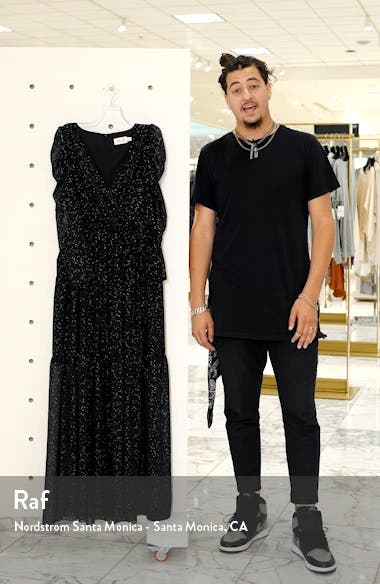 Long Sleeve Faux Wrap Chiffon Maxi Dress, sales video thumbnail