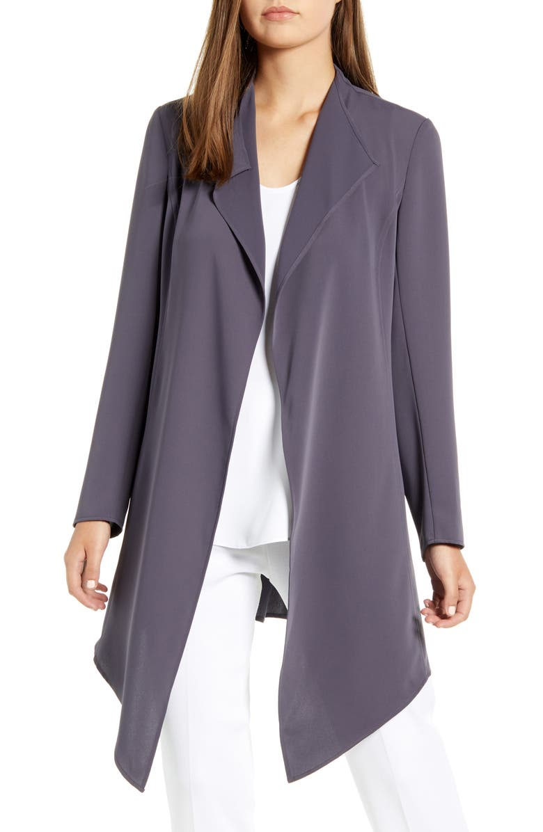 ANNE KLEIN Drape Front Long Jacket, Main, color, NANTUCKET GREY
