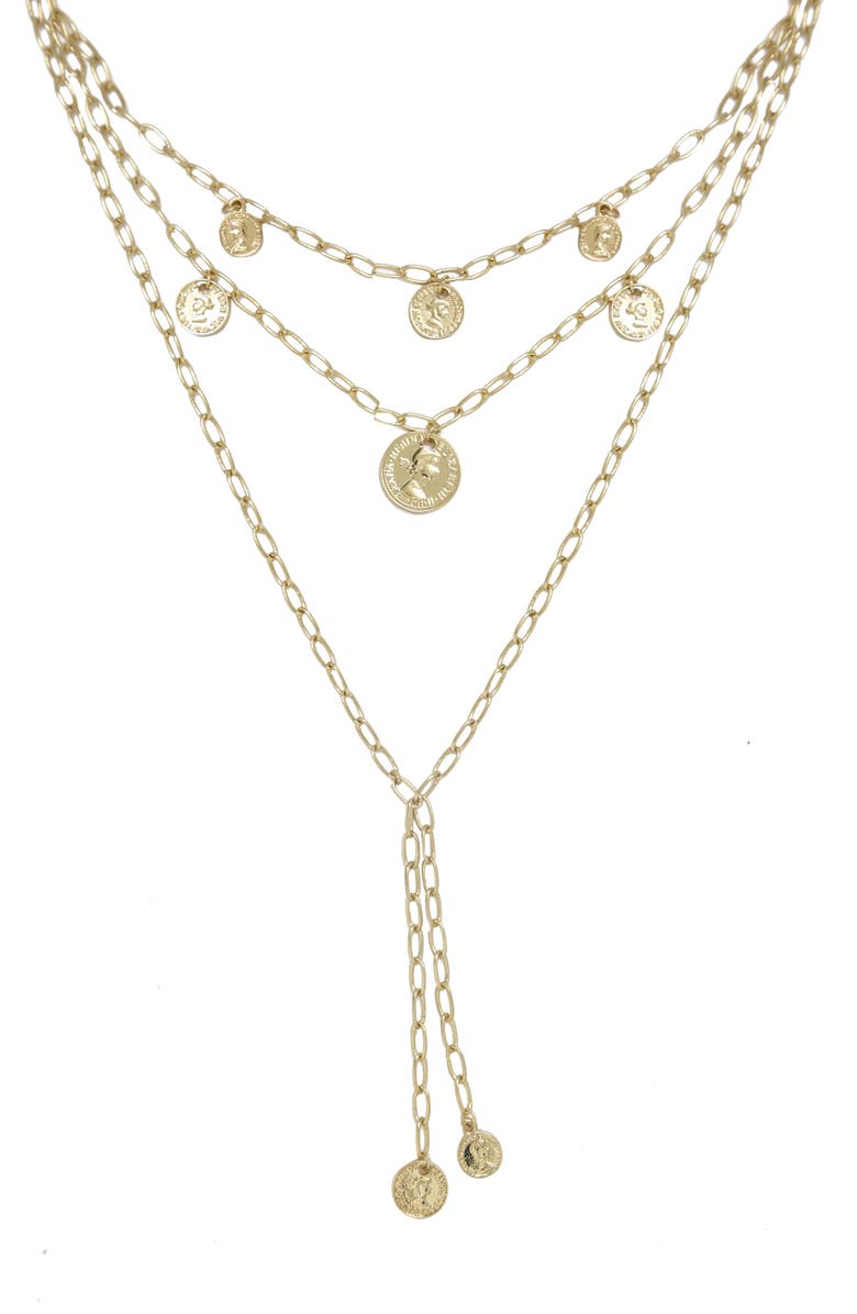 ETTIKA Layered Coin Lariat Necklace, Main, color, GOLD