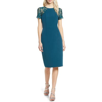 Chi Chi London Tia Crepe & Lace Cocktail Dress, Blue/green