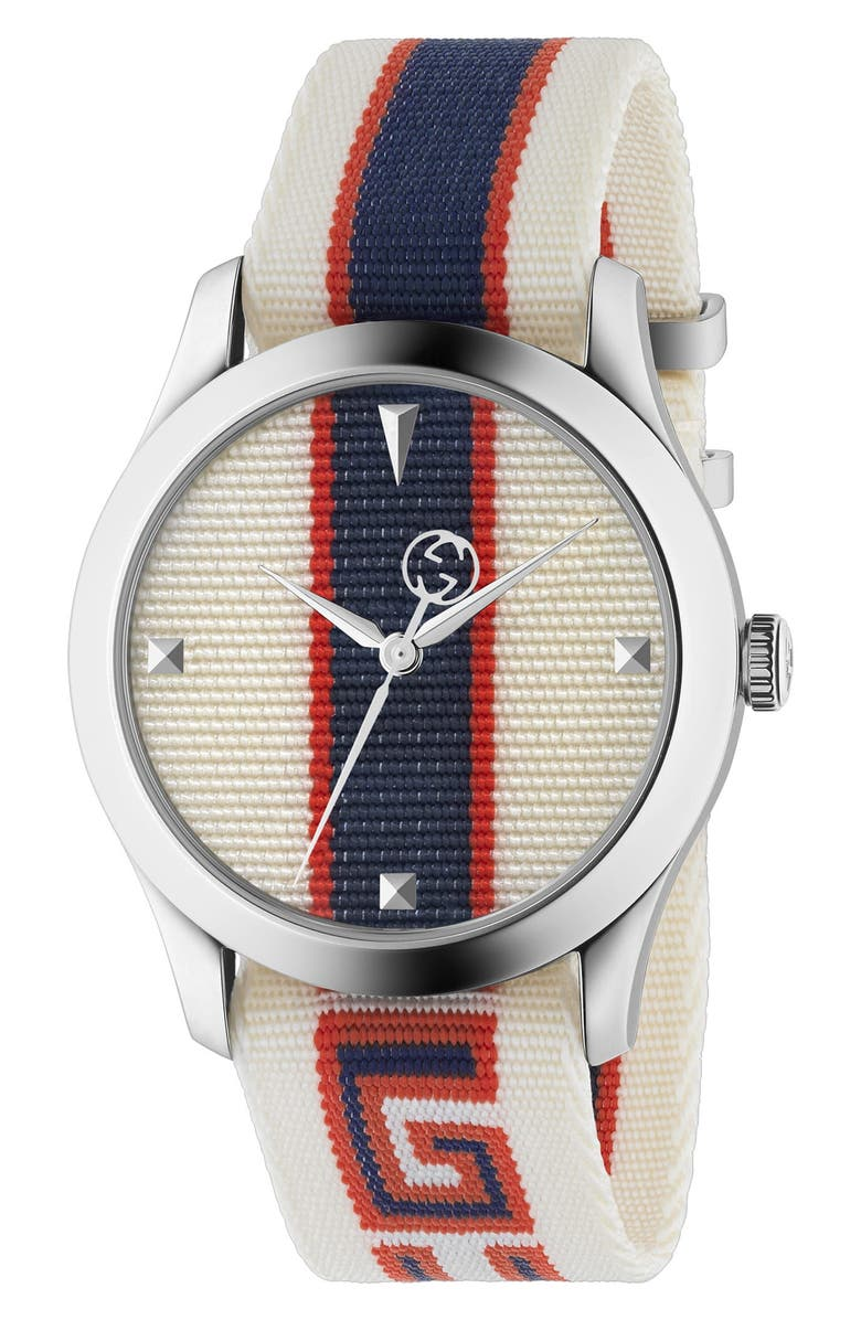 GUCCI G-Timeless Nylon Strap Watch, 37mm, Main, color, CREAM/ RED/ BLUE/ SILVER