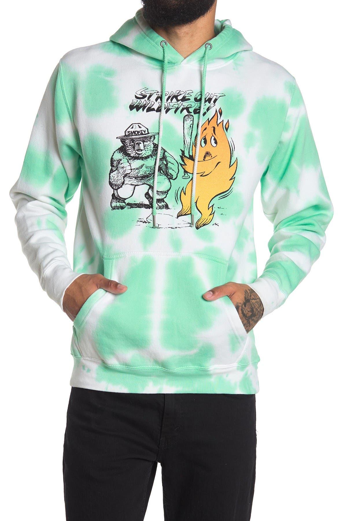 Image of Philcos Smokey Fire Graphic Tie Dye Drawstring Hoodie