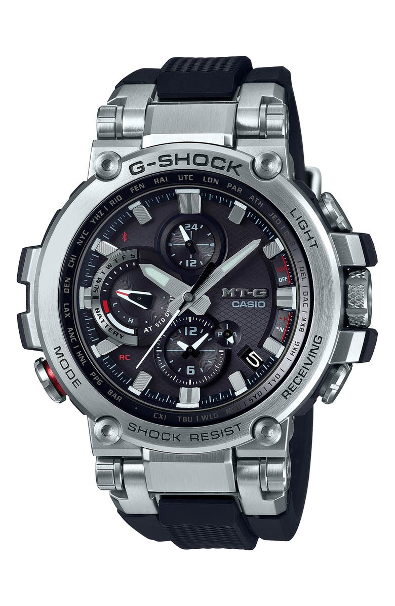 G-SHOCK BABY-G Analog Casio MT-G Watch, 52mm, Main, color, BLACK/ SILVER