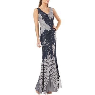Js Collections Leaf Soutache Trumpet Gown, Blue