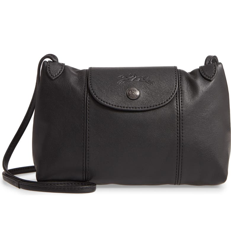 LONGCHAMP Le Pliage - Cuir Leather Crossbody Bag, Main, color, BLACK