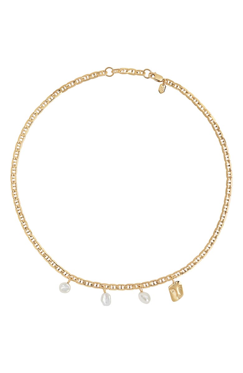 MARIA BLACK A Pause Crew Necklace, Main, color, GOLD