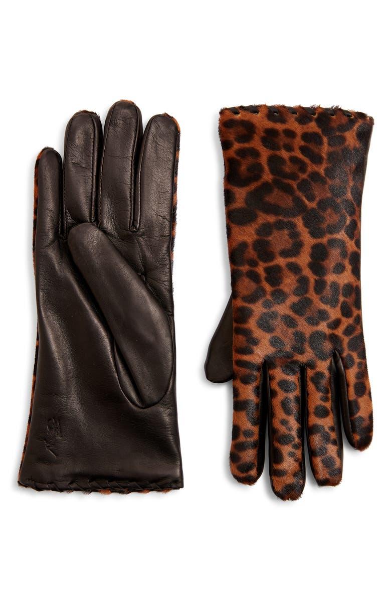 POLO RALPH LAUREN Leopard Print Genuine Calf Hair Gloves, Main, color, 001