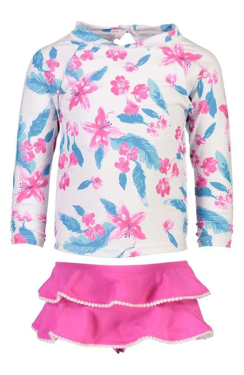 SNAPPER ROCK Lilly Two-Piece Rashguard Swimsuit, Main, color, FUCHSIA/ WHITE