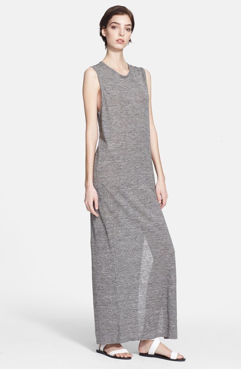 ALEXANDERWANG.T T by Alexander Wang Heathered Linen Jersey Maxi Dress, Main, color, 020