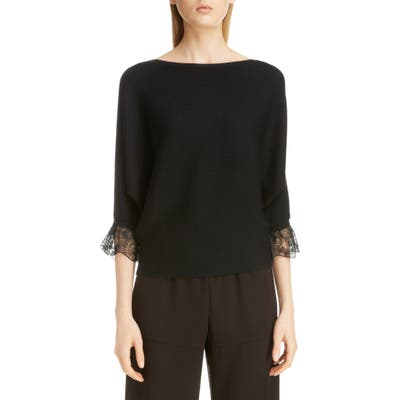 Chloe Lace Cuff Rib Wool & Silk Sweater, Black
