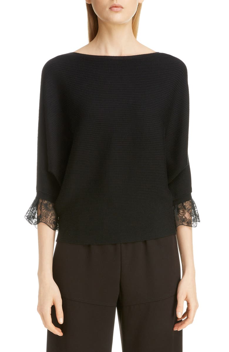 CHLOÉ Lace Cuff Rib Wool & Silk Sweater, Main, color, 001