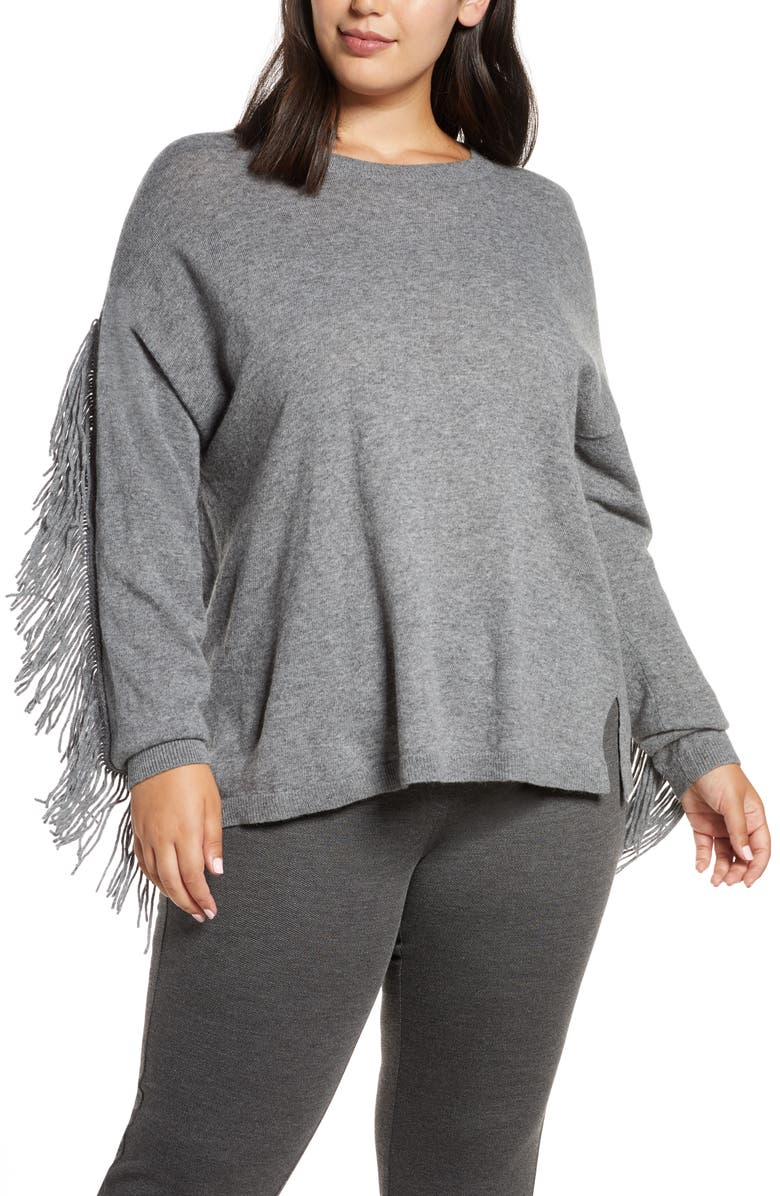 MARINA RINALDI Fringe Sleeve Sweater, Main, color, DARK GREY