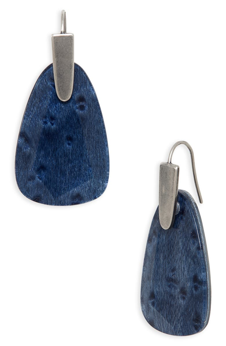 KENDRA SCOTT Marty Drop Earrings, Main, color, VIN SLV NAVY WOOD
