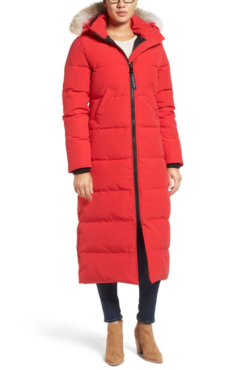 CANADA GOOSE Mystique Down Parka with Genuine Coyote Fur Trim, Main, color, RED