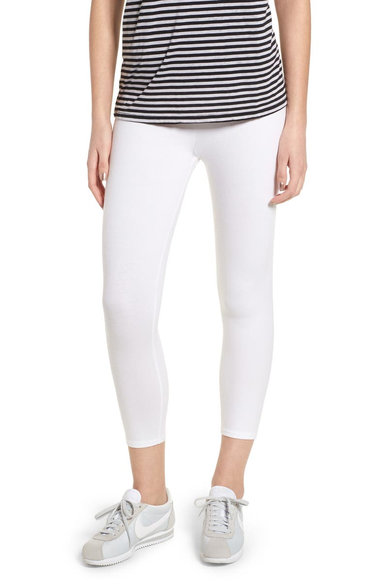 NORDSTROM High Waist Crop Leggings, Main, color, WHITE
