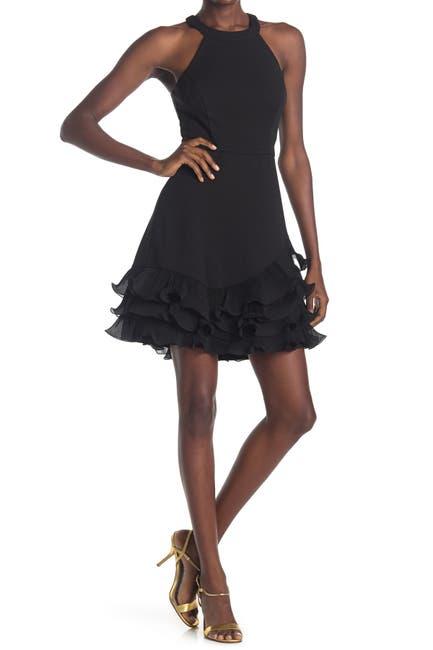 Image of GUESS Halter Neck Ruffled Hem Dress