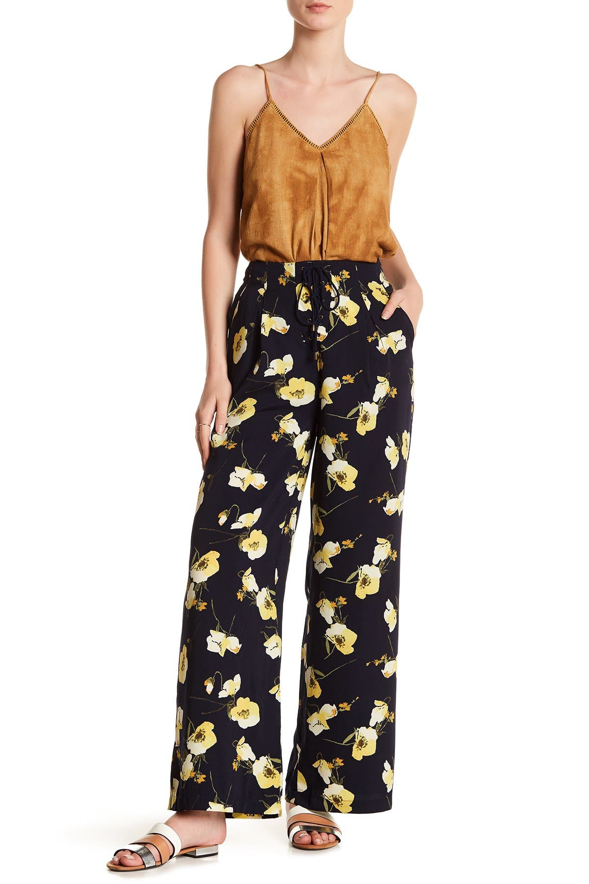 Image of Moon River Floral Lace-Up Palazzo Pants