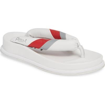 Ash Tonic Stripe Logo Flip Flop, White