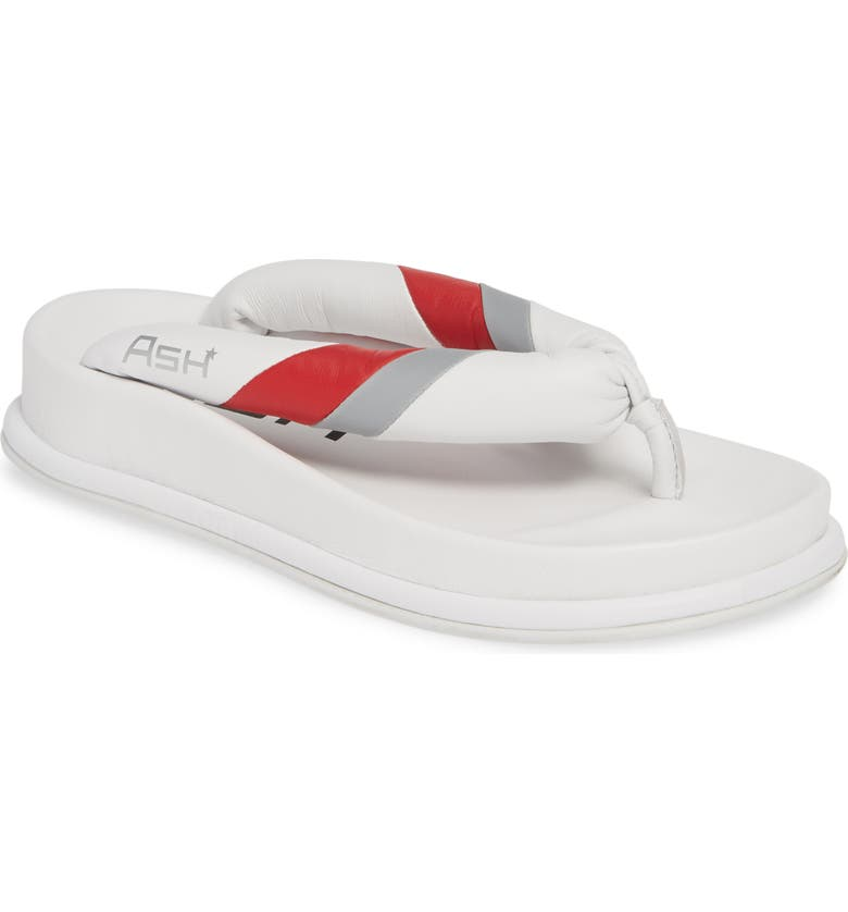 ASH Tonic Stripe Logo Flip Flop, Main, color, WHITE
