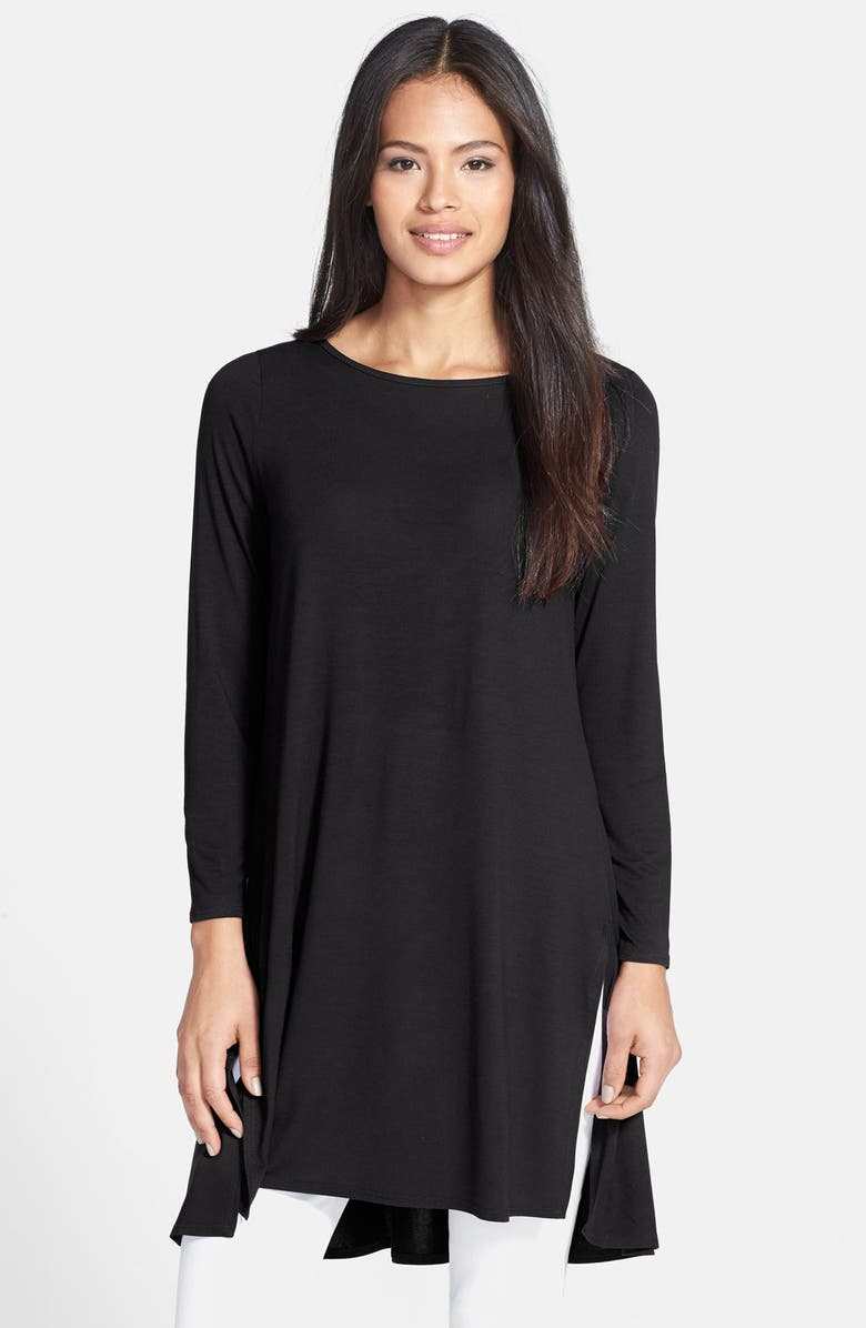 EILEEN FISHER Three Quarter Sleeve Ballet Neck Tunic, Main, color, 001