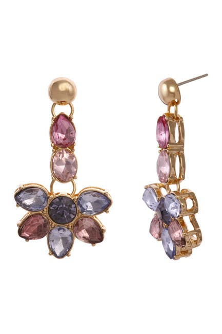 Image of Christian Siriano New York Multi Colored Stone Flower Shaped Drop Earrings