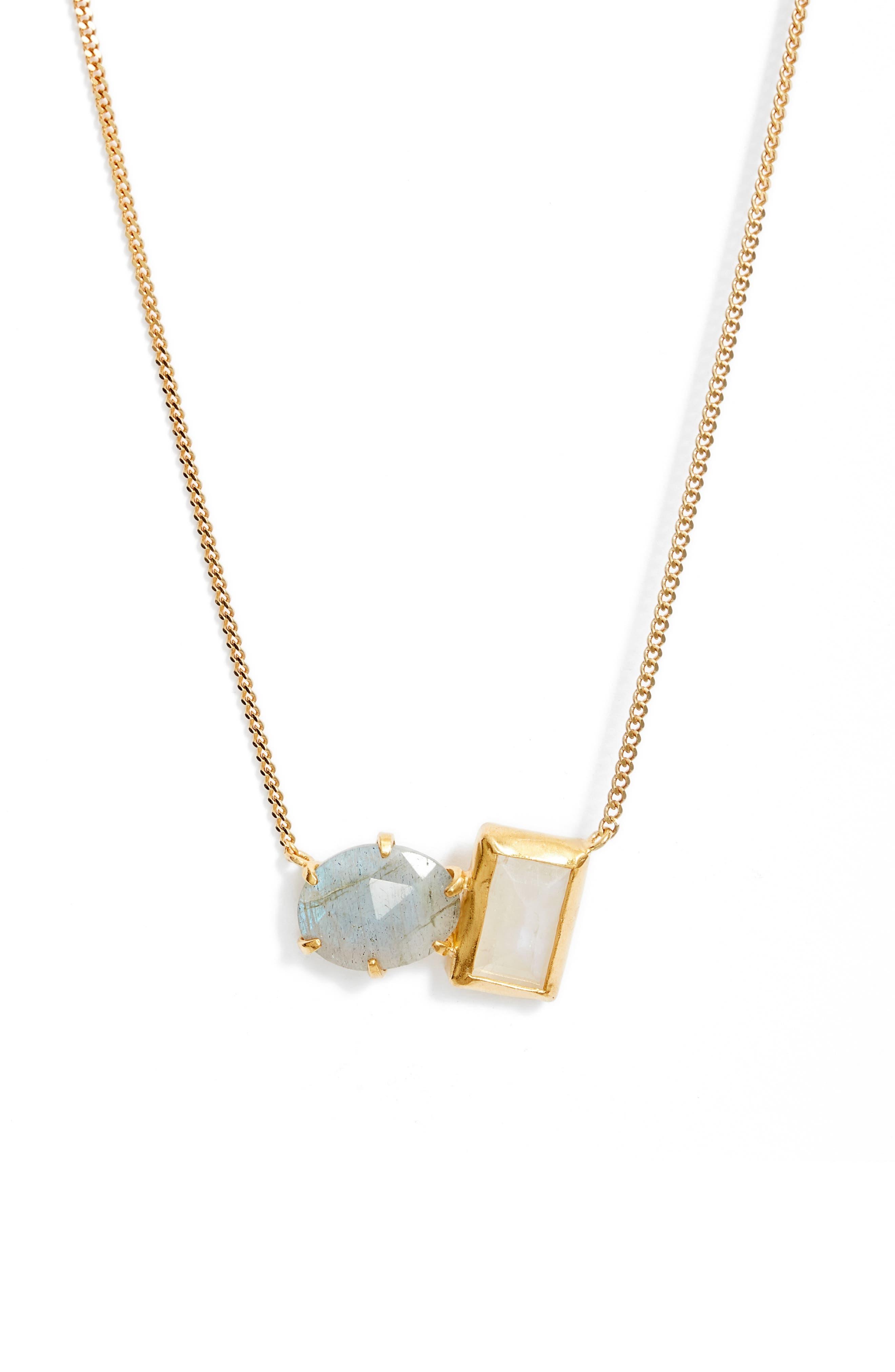 Moonstone & Labradorite Healing Stone Duo Pendant Necklace
