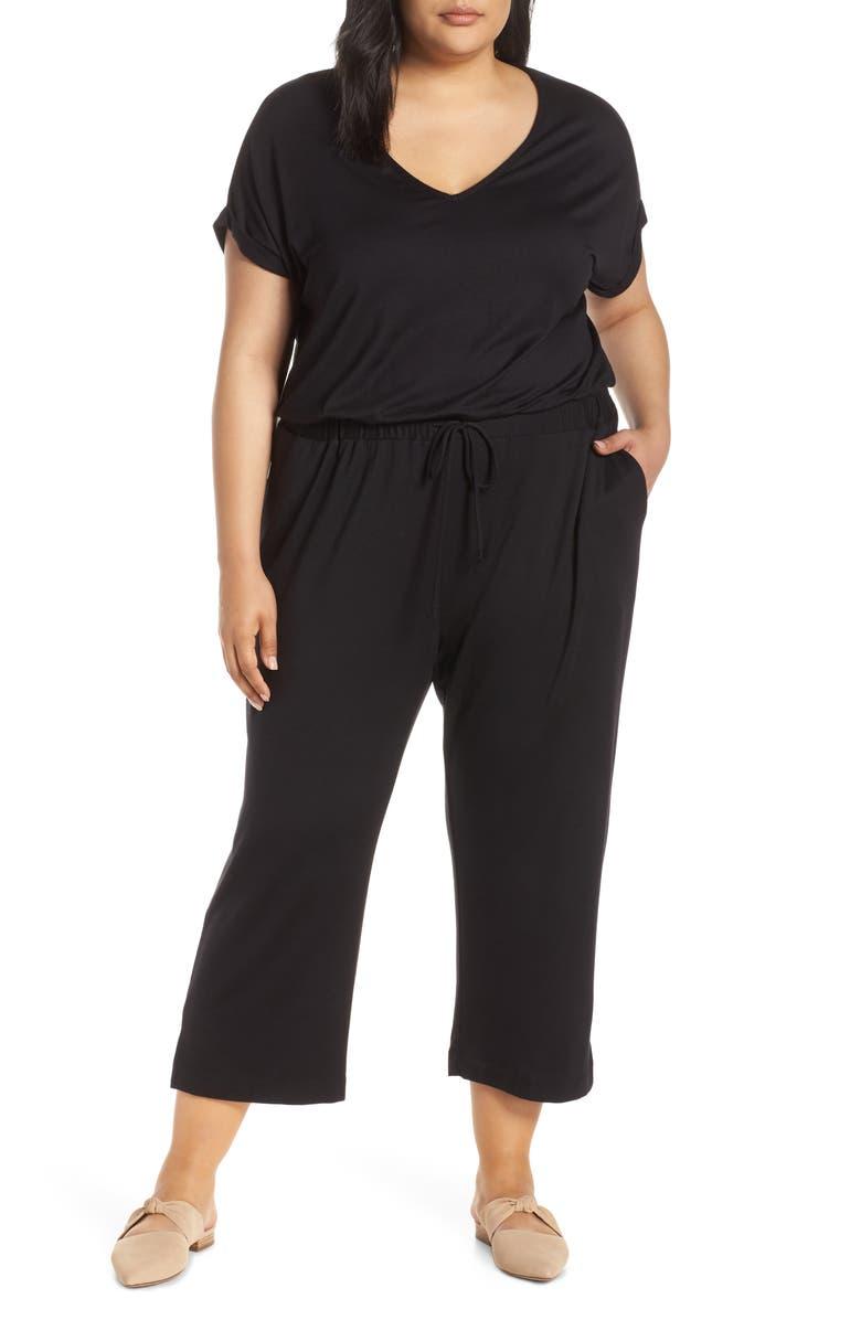 CASLON<SUP>®</SUP> Tie Waist Knit Jumpsuit, Main, color, 001