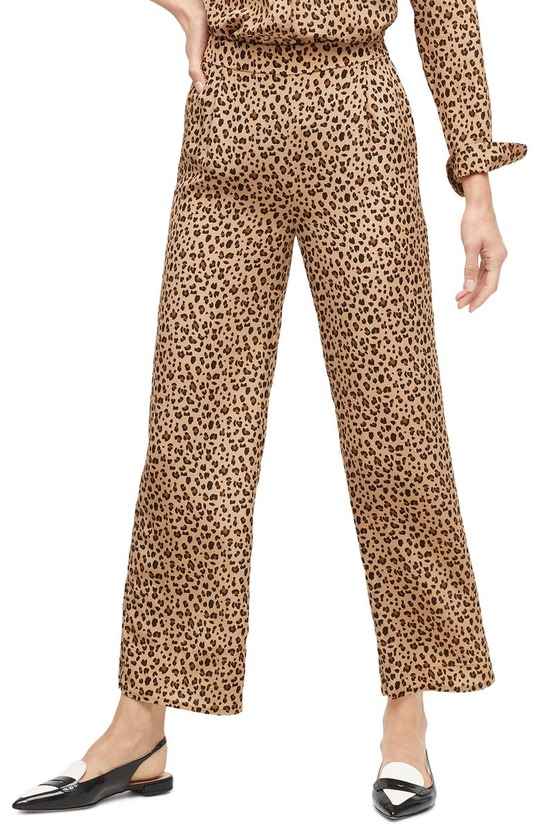 J.CREW Leopard Print Relaxed Pull-On Crop Pants, Main, color, 250