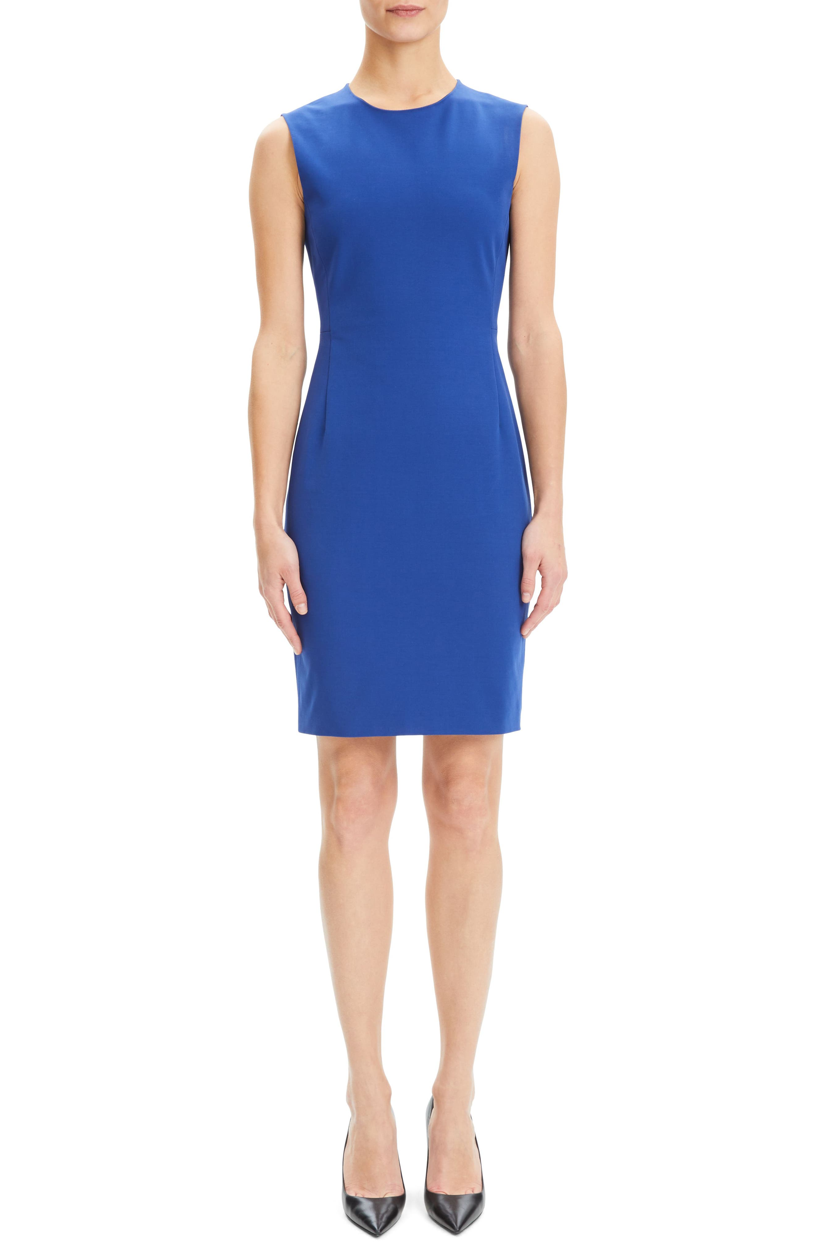 Theory Stretch Cotton Sheath Dress, Blue