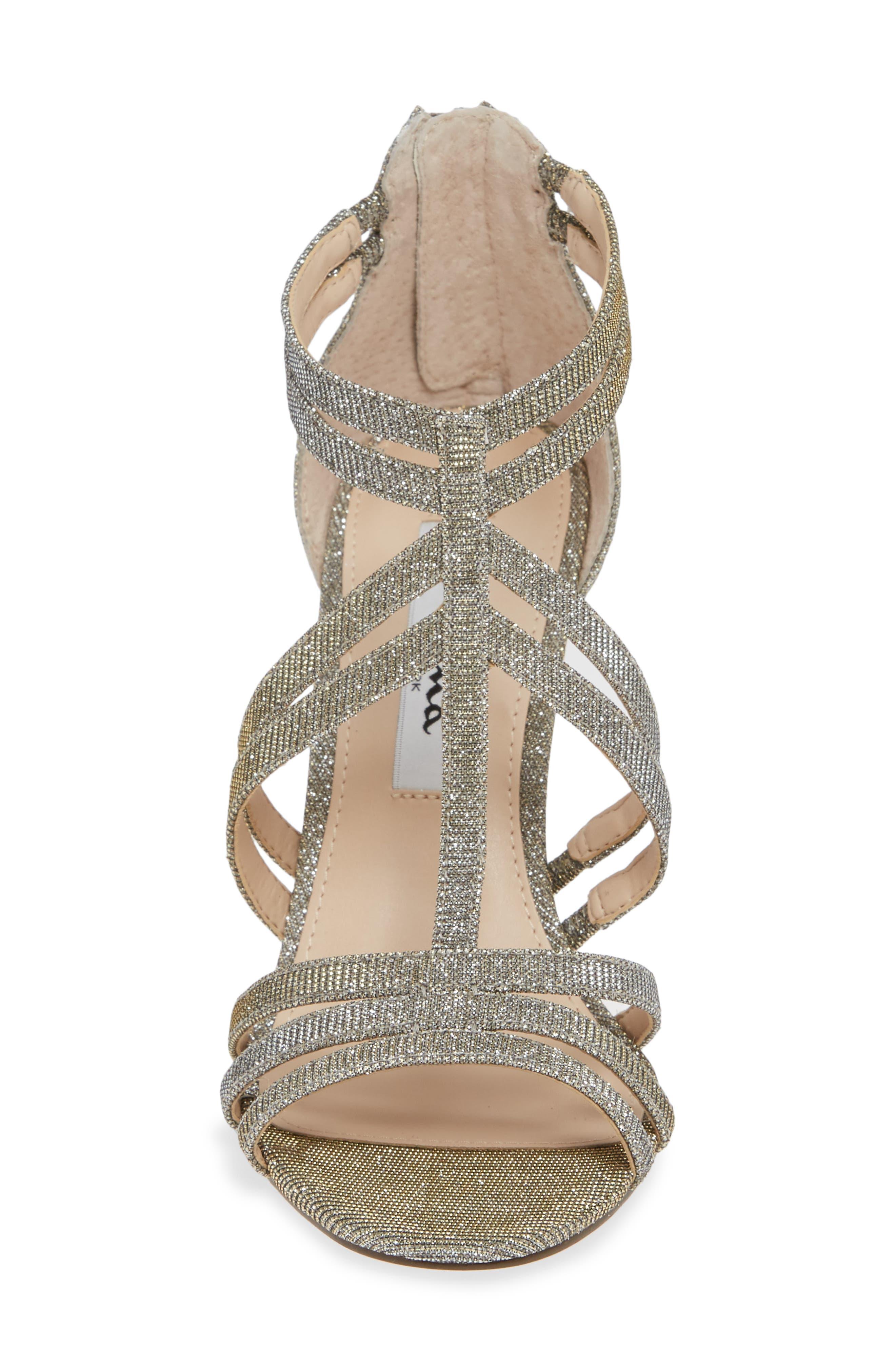 ,                             Carlie Ankle Strap Sandal,                             Alternate thumbnail 4, color,                             STEEL GLITTER FABRIC
