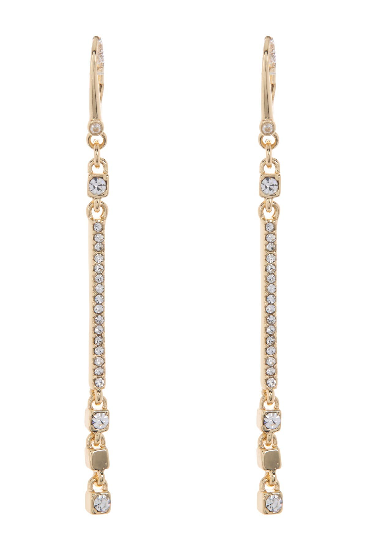 Image of DKNY Pave Cube Linear Dangle Earrings