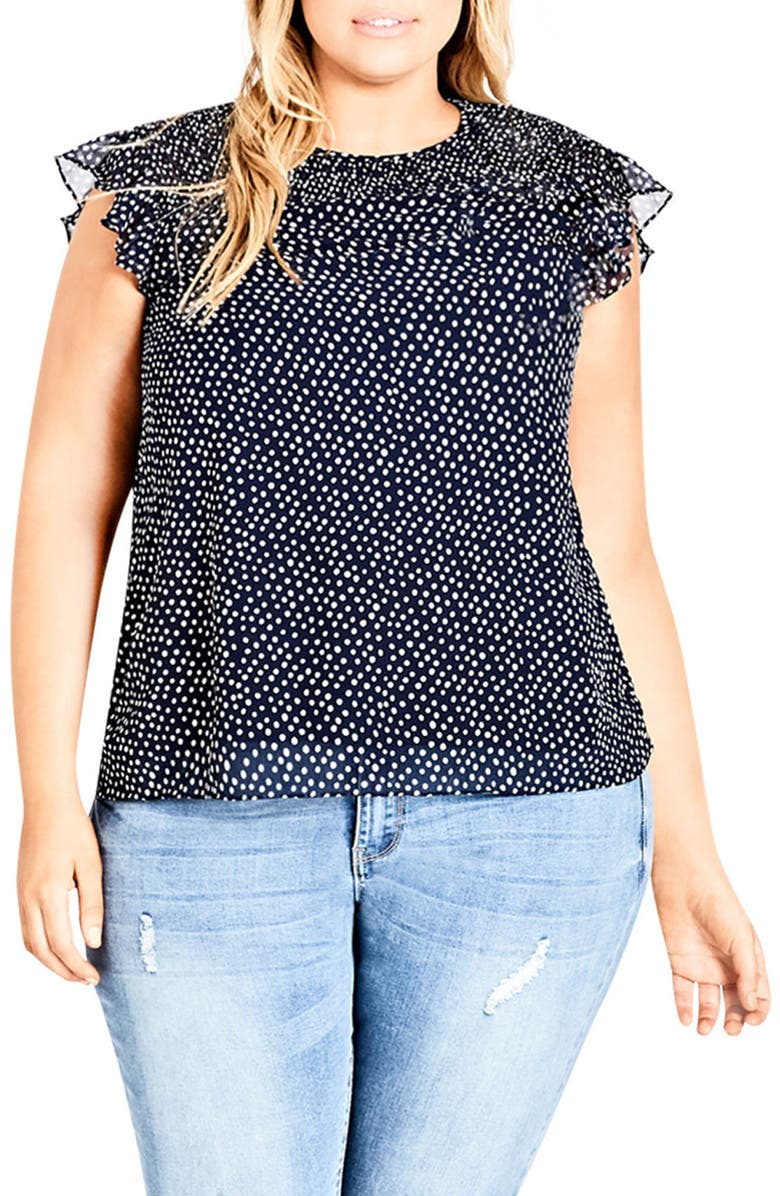 CITY CHIC Spot Smocked Top, Main, color, WHITE SPOT